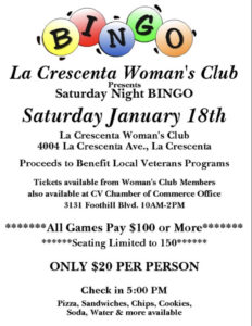 La Crescenta Womans Club Saturday Night BINGO @ LCWC Clubhouse
