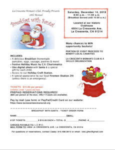 La Crescenta Womans Clubhouse Breakfast with Santa @ LCWC Clubhouse
