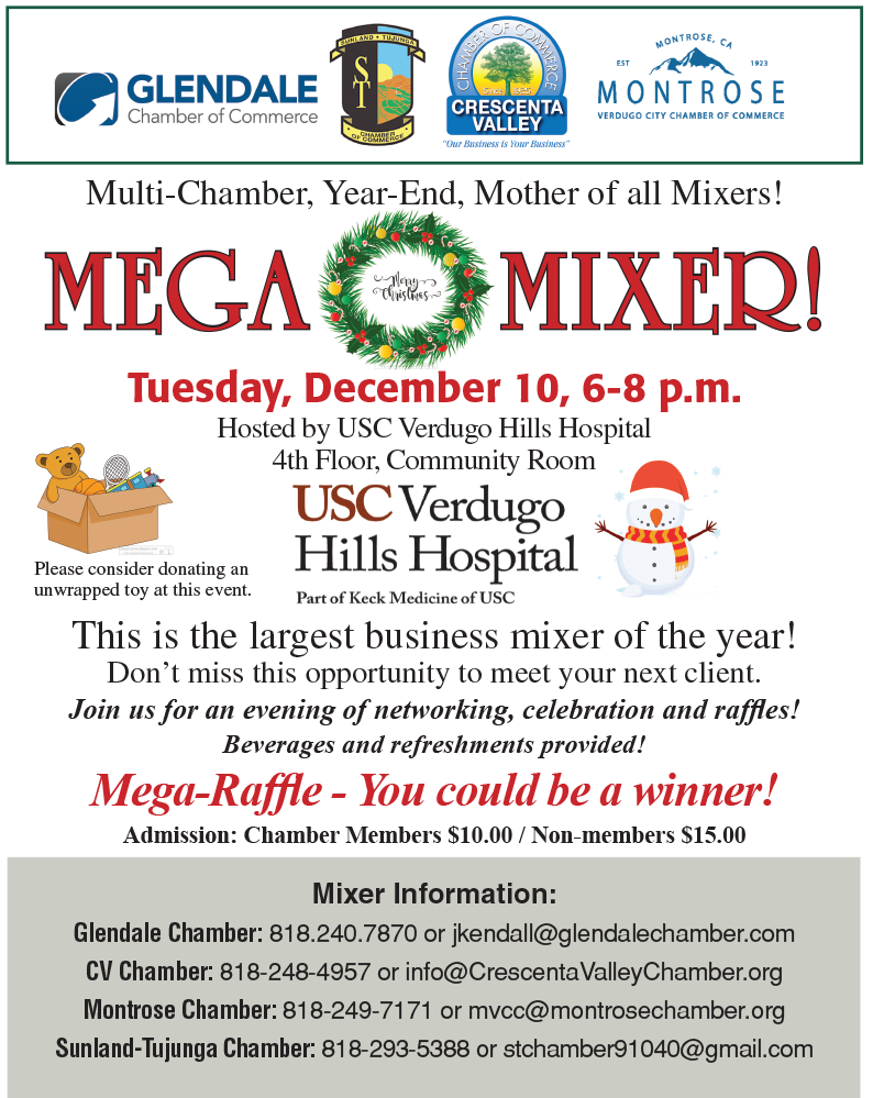 Tri City Mega Mixer and Toy Drive @ USC Verdugo Hills Hospital 4th Floor, Community Room