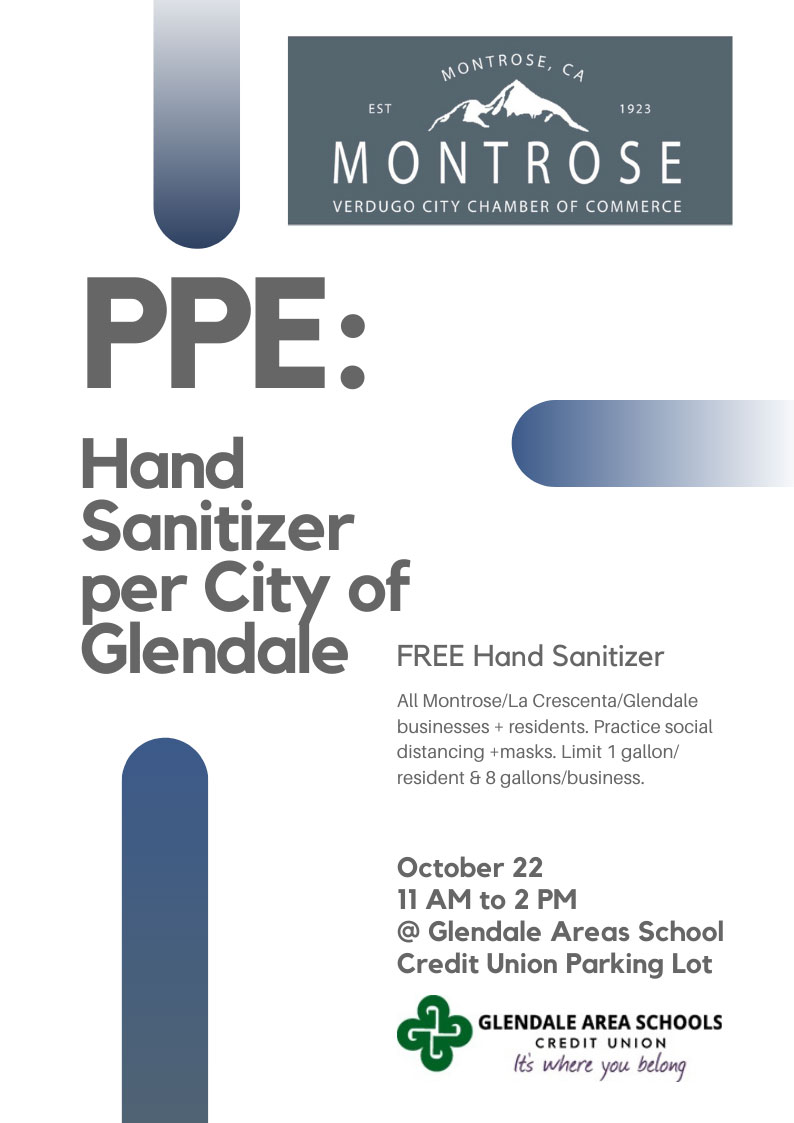 Pick up FREE Hand Sanitizer @ Glendale Areas School Credit Union | Glendale | California | United States