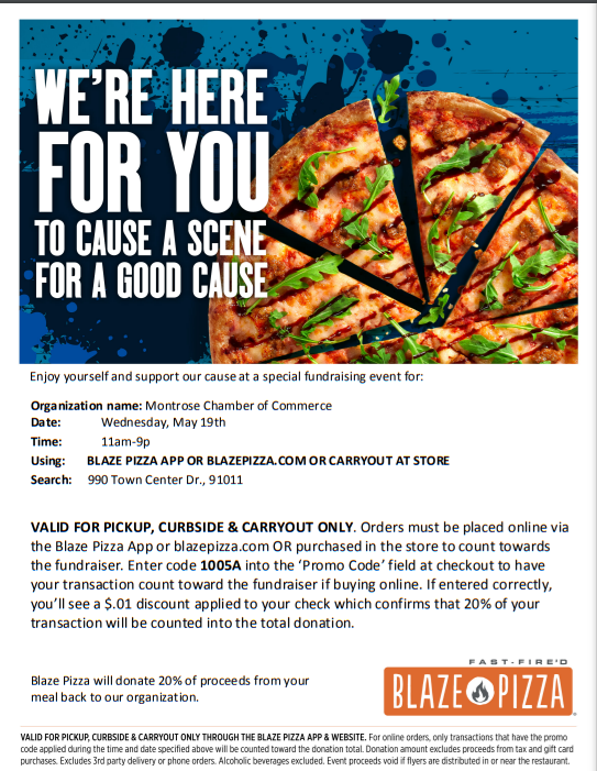 Blaze Pizza Fundraiser @ Blaze Pizza  | La Cañada Flintridge | California | United States